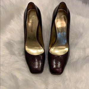 Enzo Angiolini brown square toe pumps